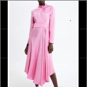 Zara gem button a line dress pink ref 2390/715